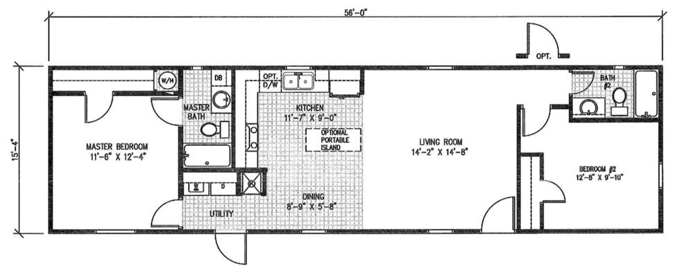 16 x 60 mobile home floor plans