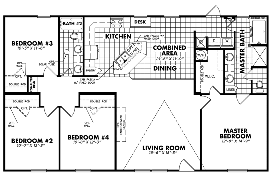 Double-wide Four Seasons Floorplan