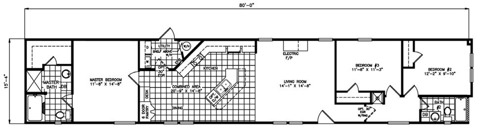 Single-wide The Cosmopolitan Floorplan