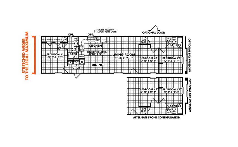 Single-wide The Tropicana Floorplan