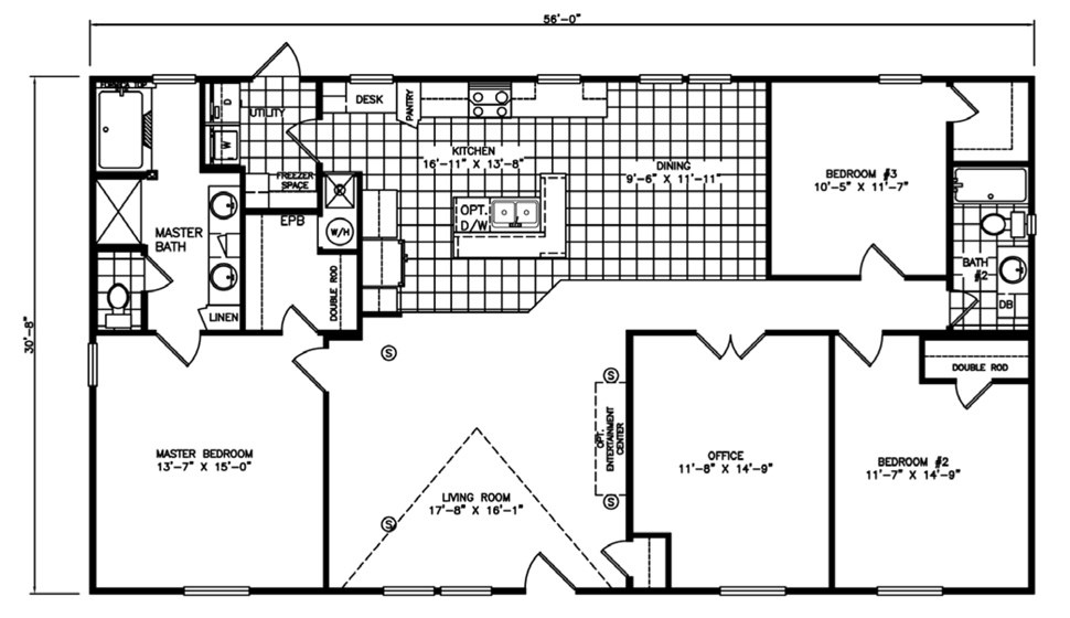 Double-wide The Palms Floorplan