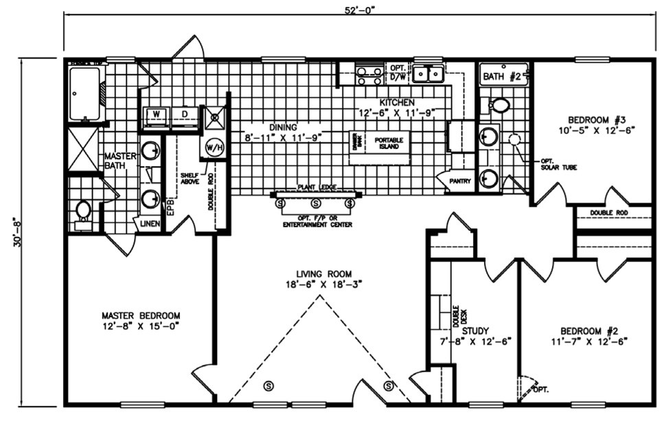 Double-wide The Santa Fe Floorplan